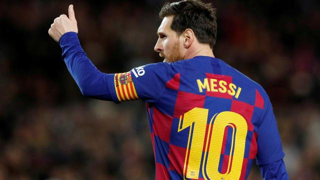 Barcelona's Lionel Messi celebrates scoring during the FC Barcelona v Real Sociedad match. March 7, 2020.