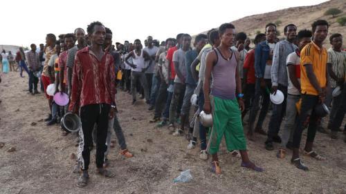 Ethiopian refugees gather in Qadarif region, easter Sudan, on November 17, 2020.