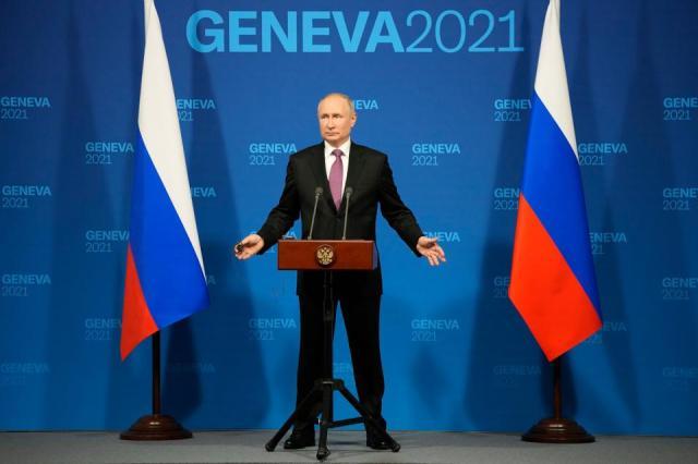 Russian President Vladimir Putin speaks during a news conference after his meeting with US President Joe Biden at the 'Villa la Grange' in Geneva, Switzerland, June 16, 2021.