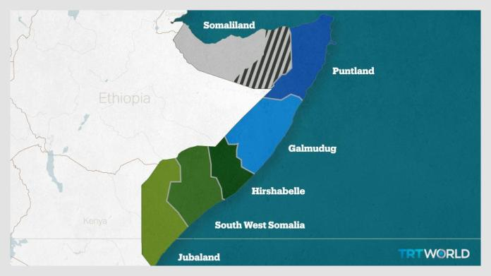 Somalia is composed of federal member states which operate with varying degrees of autonomy. Somaliland in the northwest considers itself independent from Somalia.