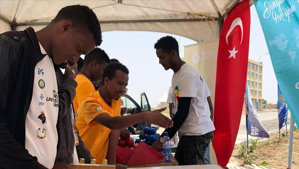 Students of Mekelle University in Ethiopia visit the