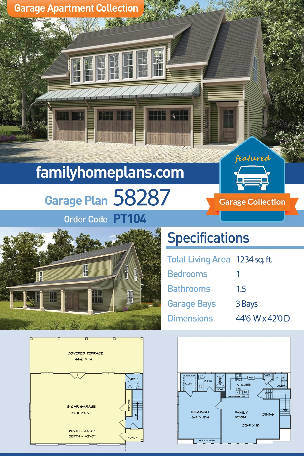 Garage Living Plan 58287 Traditional Style With 1234 Sq Ft 1 Bed 1 Bath 1 Half Bath
