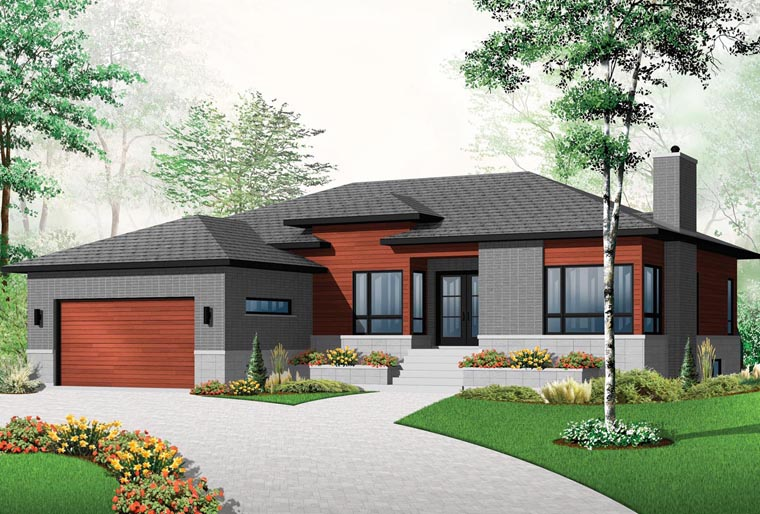 House Plan 76355 Modern Style With 1676 Sq Ft 3 Bedrooms 1 Bathrooms 2 Car Garage