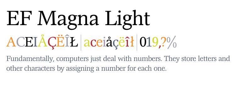 ef magna light fonts