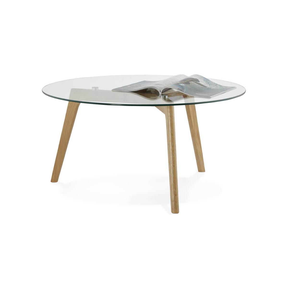 table basse style scandinave tarot en verre et chene massif amp story 3762
