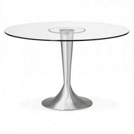 table de repas design ronde urban en verre trempe et aluminium brosse o 120 cm transparent amp story 4004
