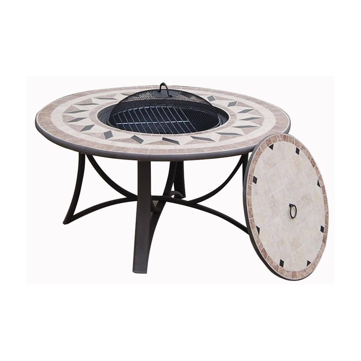table de jardin basse ronde hawai aspect fer forge et mosaique noir beige amp story 4090