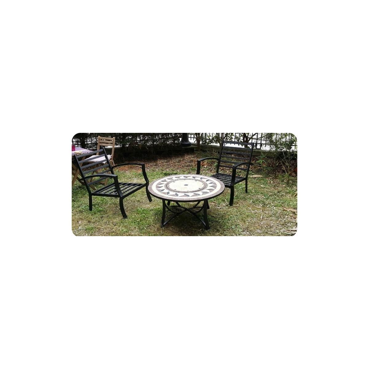 salon de jardin table basse ronde 4 chaises filae aspect fer forge et mosaique noir beige amp story 4092