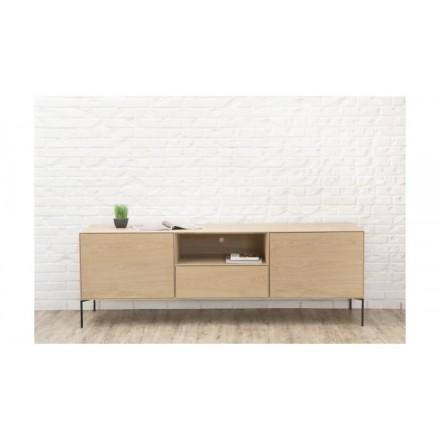 meuble tv 2 portes 1 tiroir 1 niche design brieg en chene massif 100 chene brut naturel amp story 5375