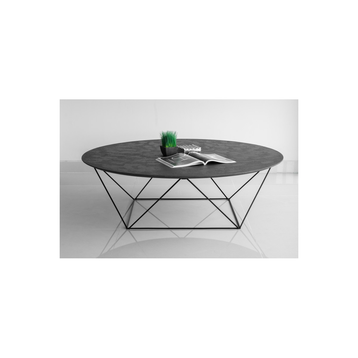 coffee table round industrial tania mineral coating black amp story 5383