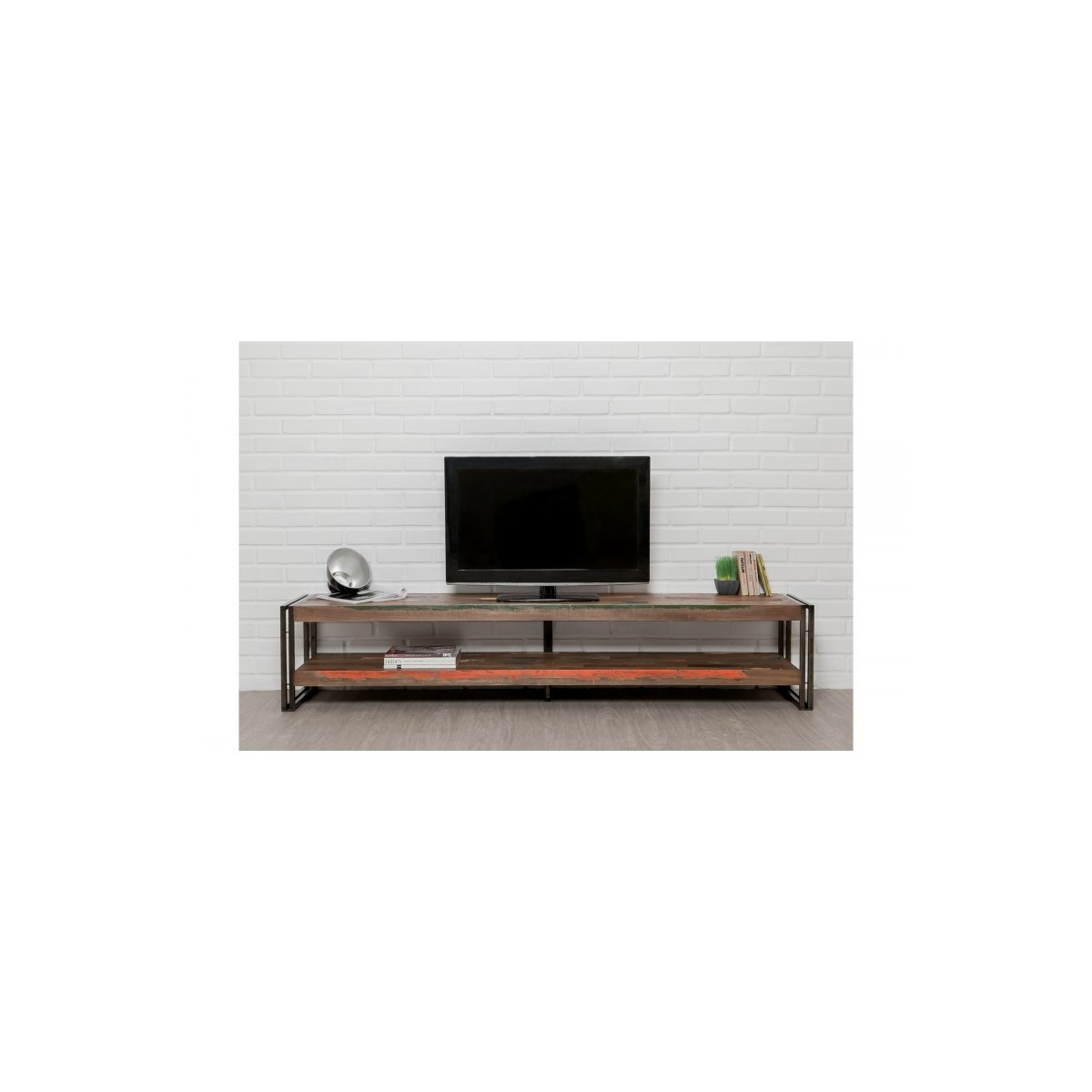 low tv 2 industrial trays 200 cm noah massive teak recycled and metal stand amp story 5418
