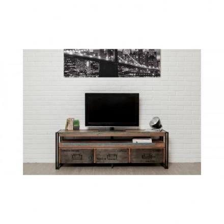 meuble tv bas 3 tiroirs 1 niche industriel 160 cm noah en teck massif recycle et metal amp story 5420
