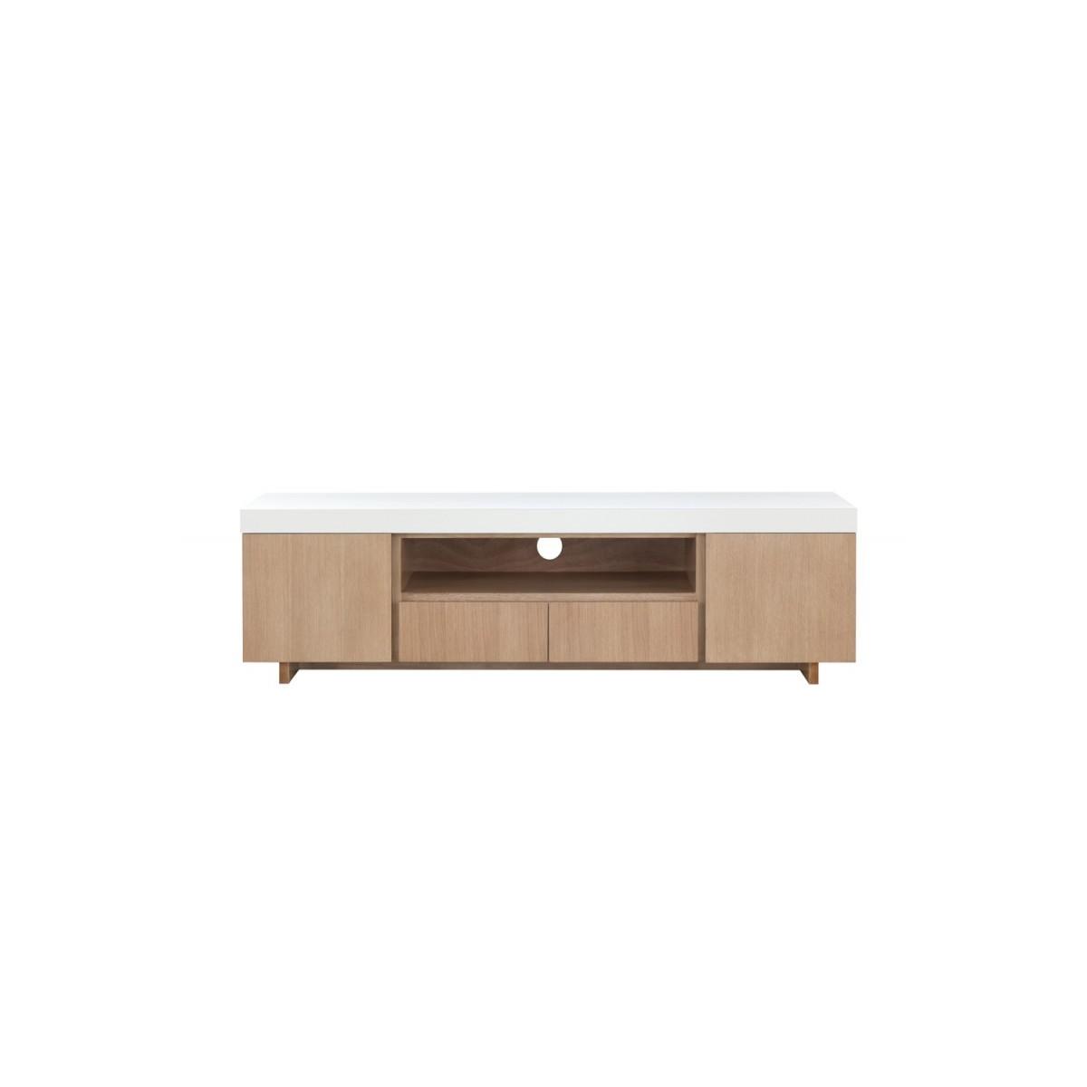 meuble tv bas 2 portes 1 niche 2 tiroirs contemporain et design emma en bois 170 cm chene clair blanc amp story 5435