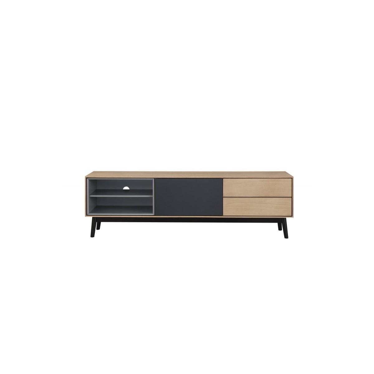 meuble tv bas design 2 niches 1 porte 2 tiroirs adamo en bois chene clair amp story 5441