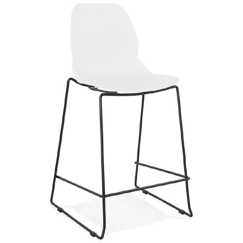tabouret de bar chaise de bar industriel mi hauteur empilable juliette mini blanc tabourets de bar design