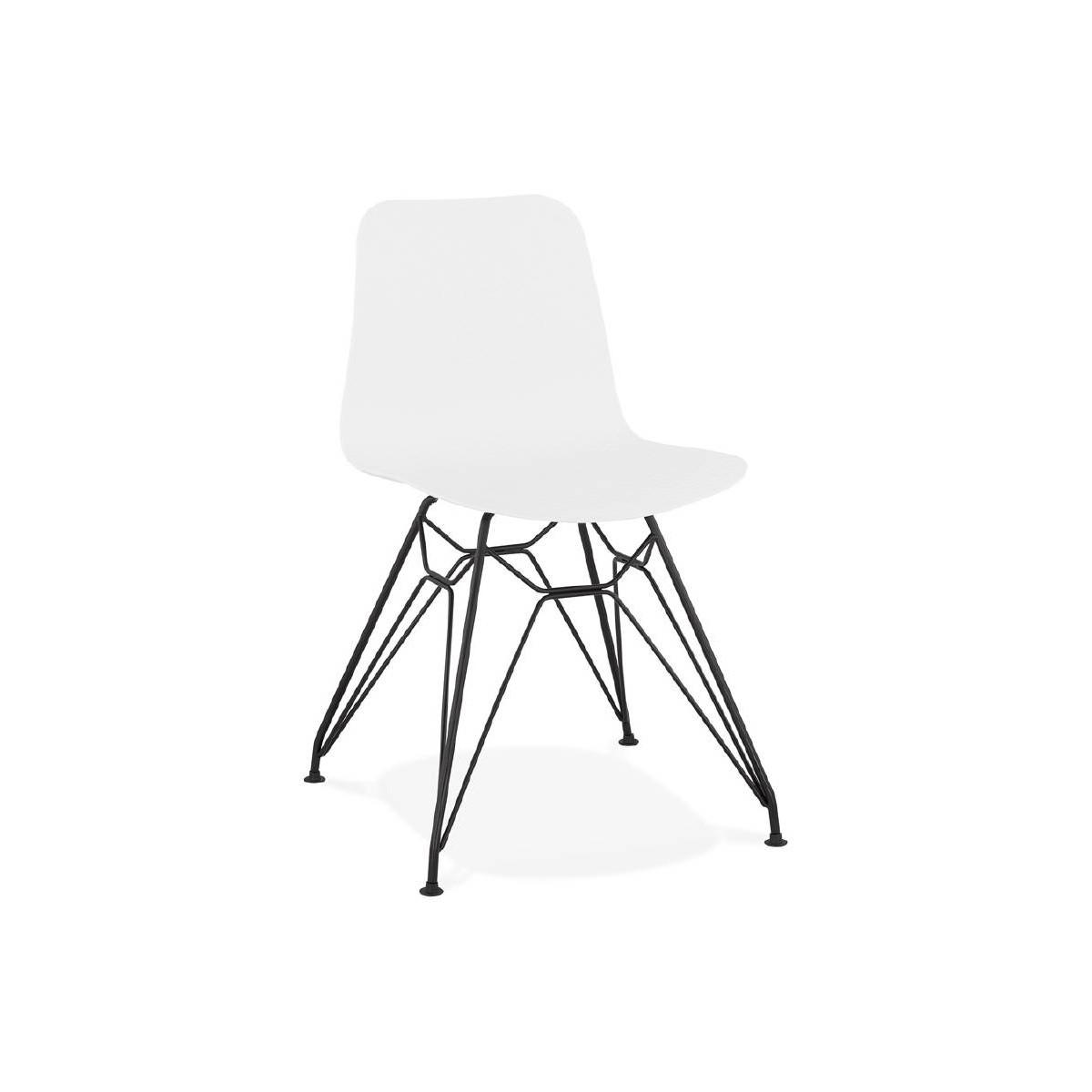 chaise design et industrielle venus en polypropylene pieds metal noir blanc amp story 5705