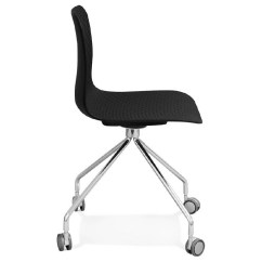 Chair On Wheels Office Chairs Melbourne Janice Polypropylene Feet Chrome Metal Black Image 39094