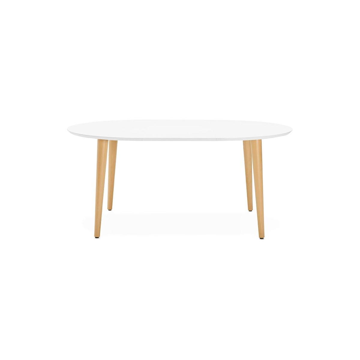 table a manger ronde scandinave a rallonges o 120 cm olivia en bois 120 220x120x75 cm blanc mat amp story 5748
