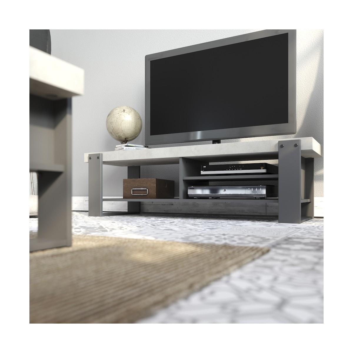 industriemobel tv eleanor klar graue schatten beton aus holz amp story 5842