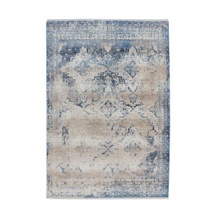 tapis vintage kansas rectangulaire tisse a la machine creme bleu tapis vintage
