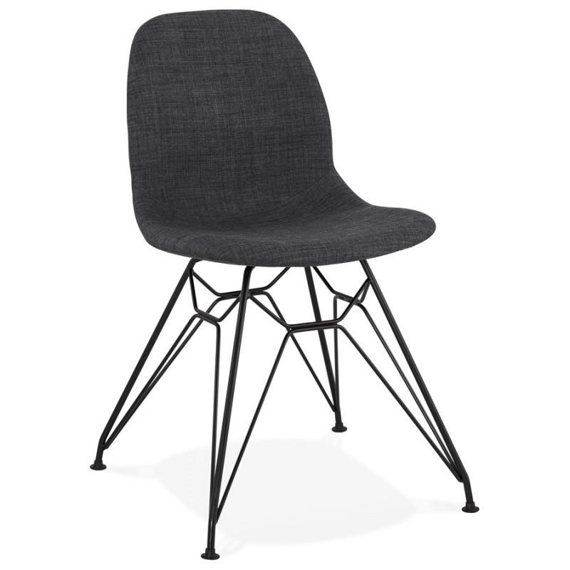 chaise design industrielle en tissu pieds metal noir mouna gris anthracite chaises