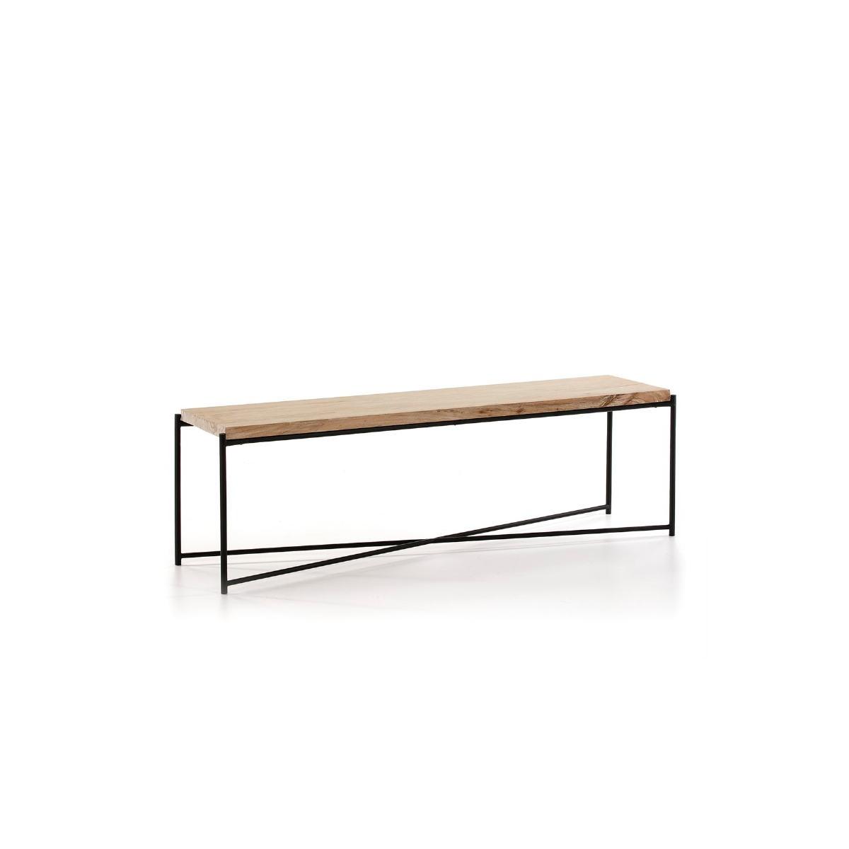 meuble tv 160x40x50 bois blanc blanchi metal noir amp story 7498