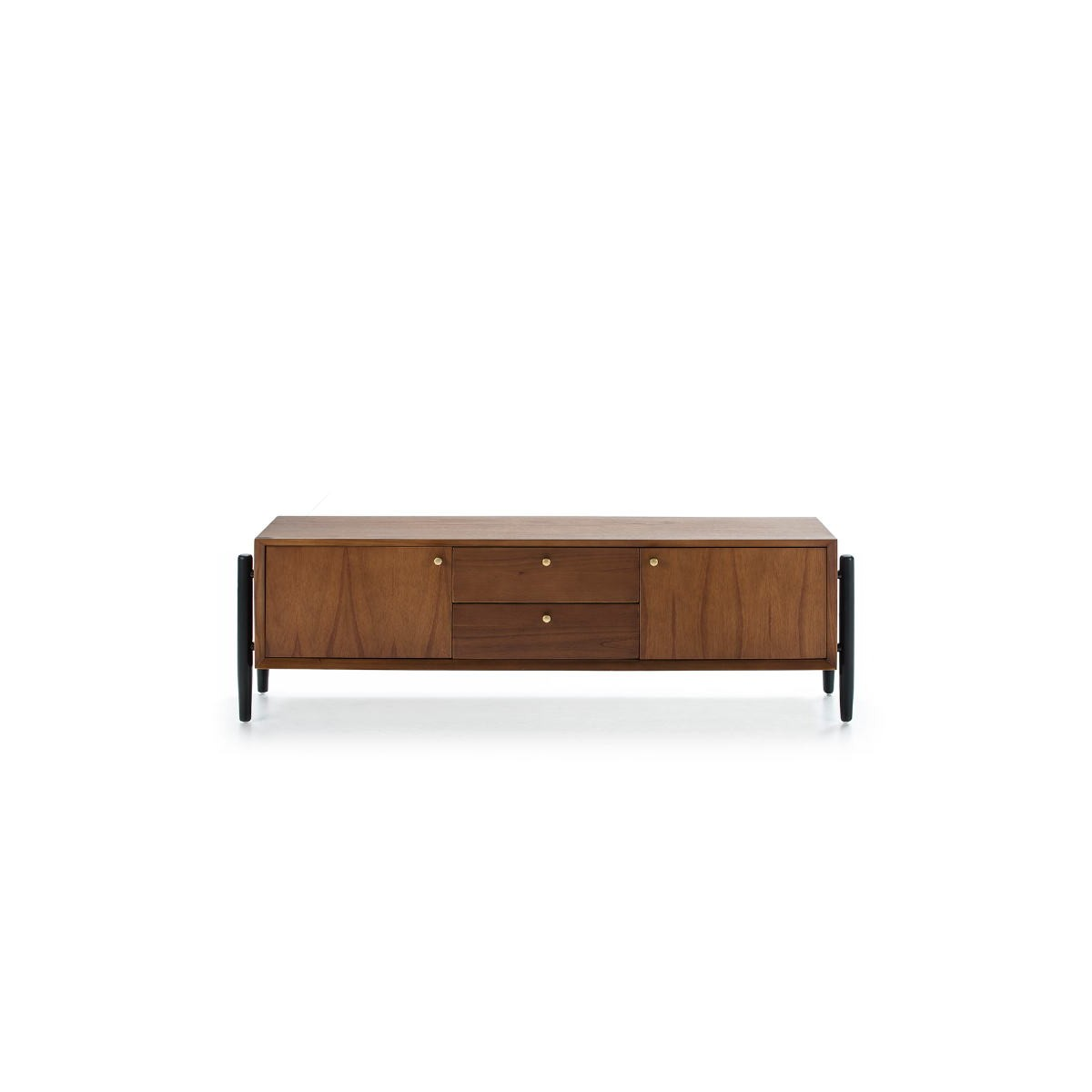 meuble tv 2 portes 2 tiroirs 160x40x50 bois brun noir amp story 7647