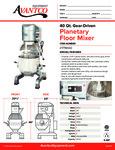 Avantco MX40 40 Qt. Gear Driven Commercial Planetary Floor