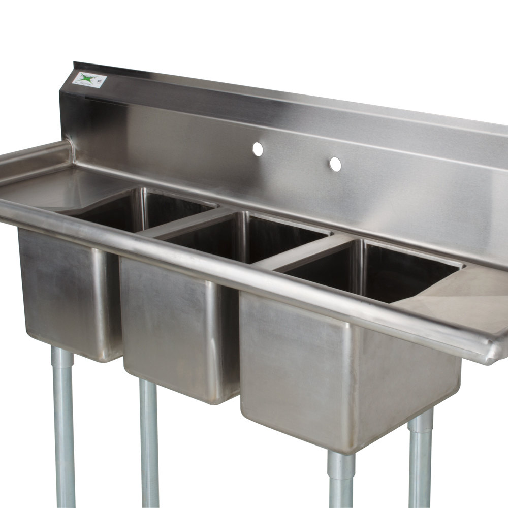 "Regency 79"" 16gauge Stainless Steel Three Compartment"