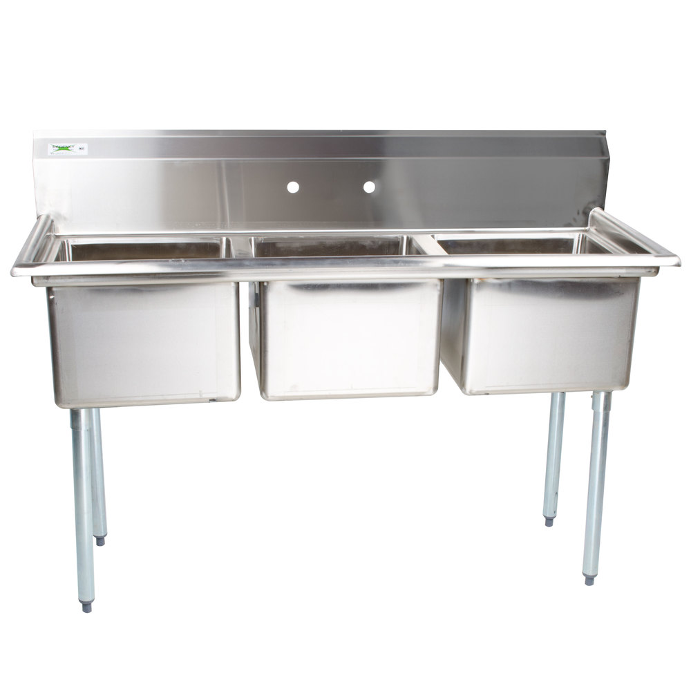 3 basin kitchen sink large round table compartment restaurant triple commercial regency 54 inch 16 gauge stainless steel three without drainboards 15