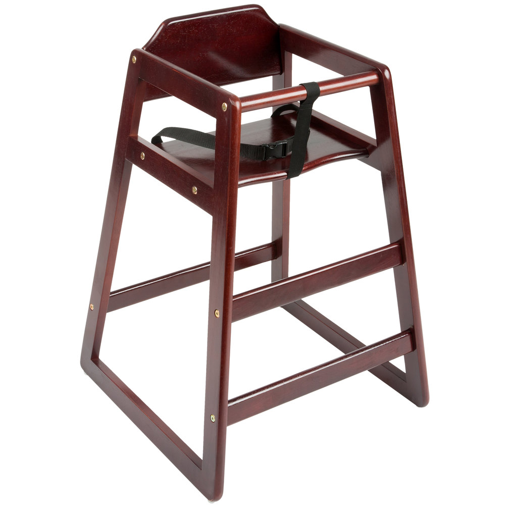 Stacking Restaurant Wood High Chair with Dark Brown Finish
