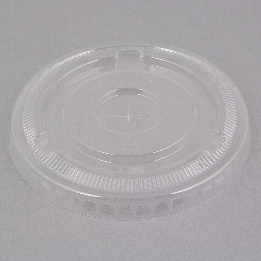 Choice 9, 12, 16, 20, and 24 oz. Clear Flat Lid with Straw