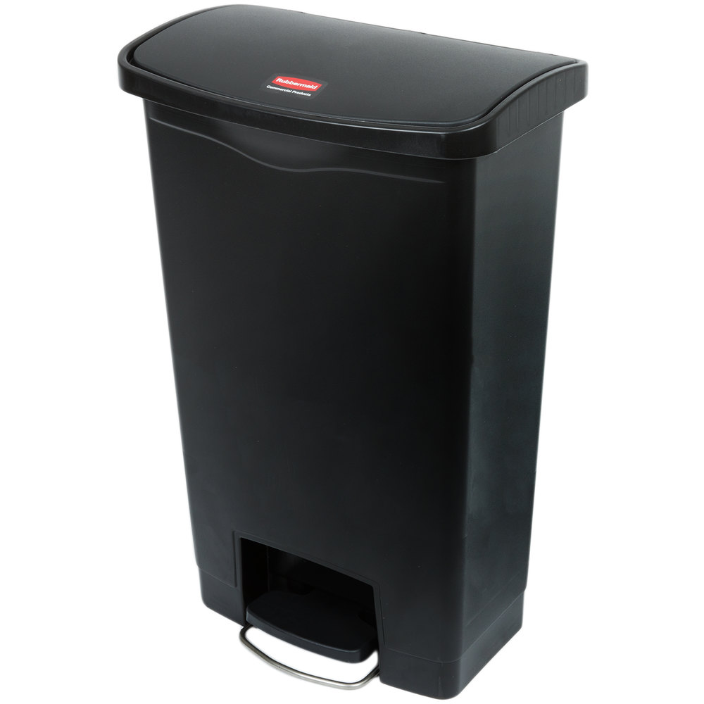 13 gallon kitchen trash can cabinets fort myers rubbermaid 1883611 slim jim resin black front step-on ...