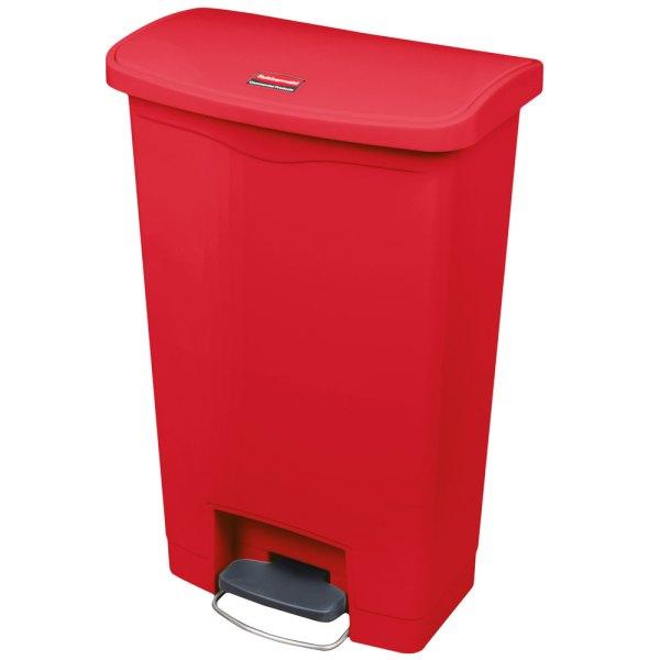 Rubbermaid 1883566 Slim Jim Resin Red Front Step- Trash - 13 Gallon