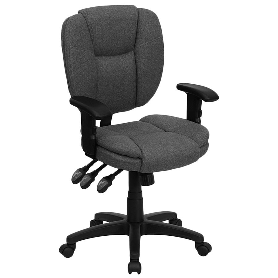 MidBack Gray MultiFunctional Ergonomic Office Chair
