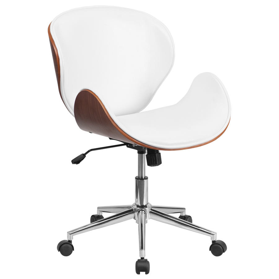 MidBack White Leather Walnut Wood Conference Swivel Chair