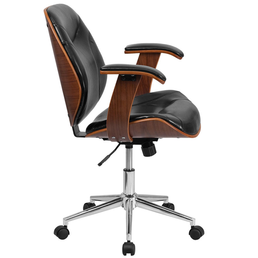 MidBack Black Leather Executive Wood Office Swivel Chair