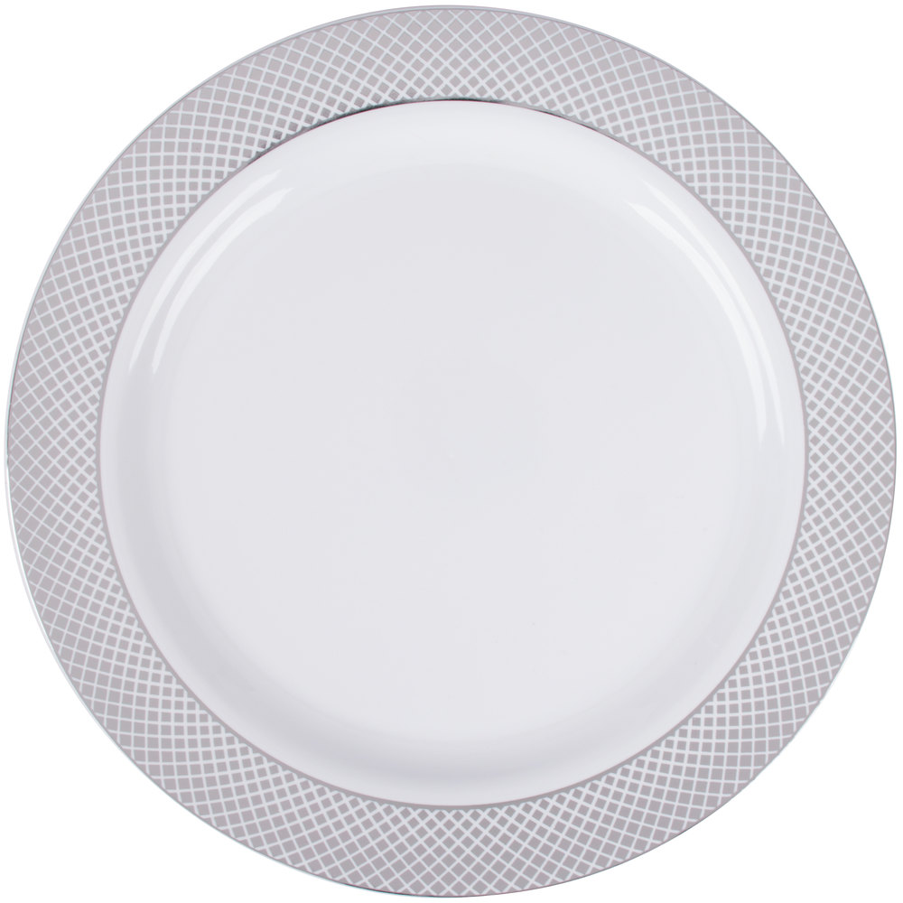 "Silver Visions 10"" White Plastic Plate with Silver Lattice"