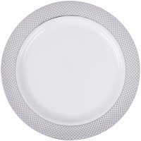 "Silver Visions 10"" White Plastic Plate with Silver Lattice ..."