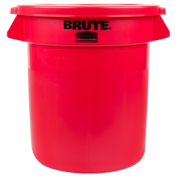 Rubbermaid Brute 10 Gallon Red Trash And Lid