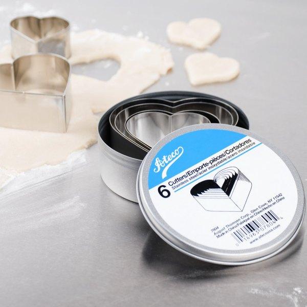 Ateco 7804 6-piece Stainless Steel Plain Heart Cutter Set