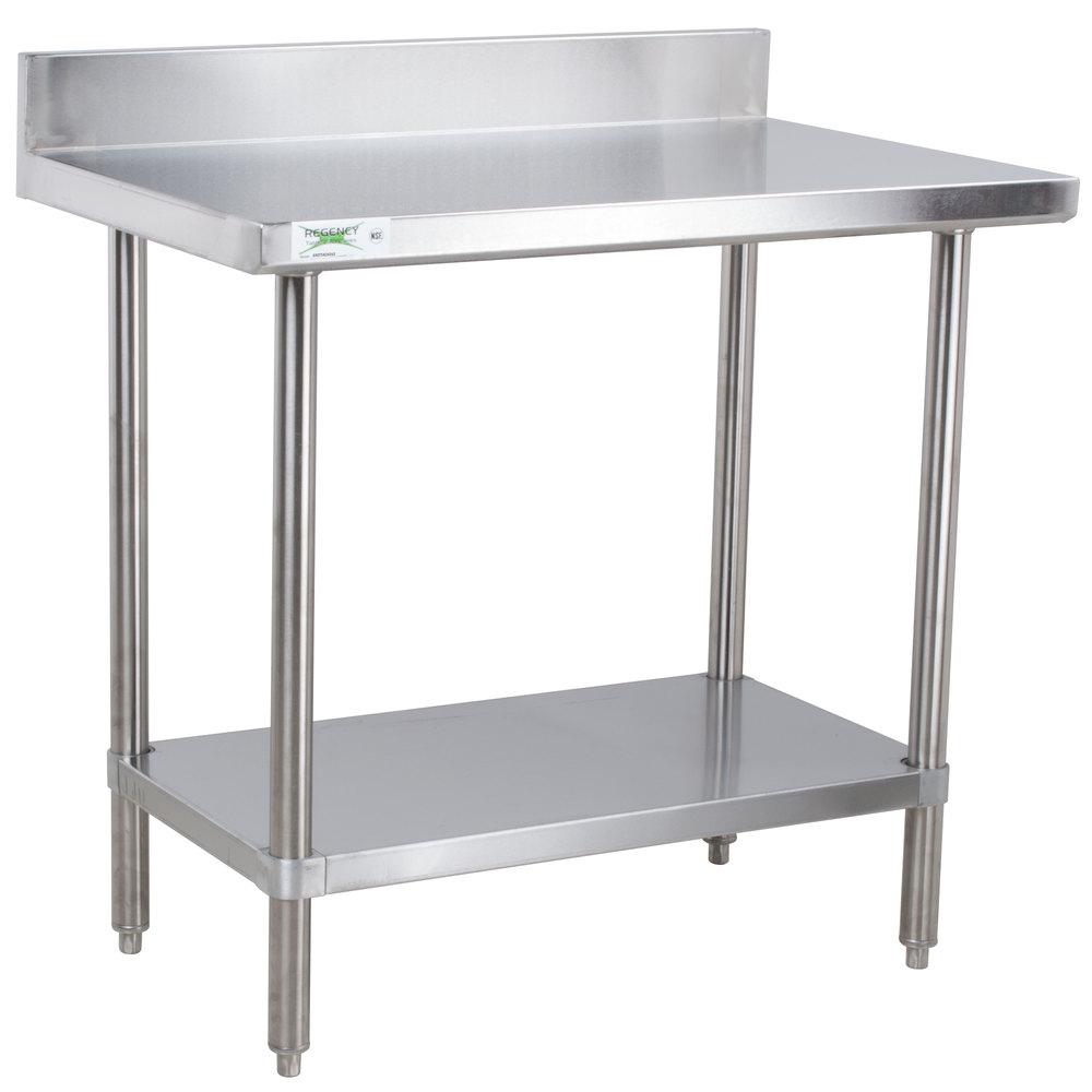 kitchen prep table hand painted tiles backsplash stainless steel work tables with undershelves regency 24 inch x 36 16 gauge commercial 4