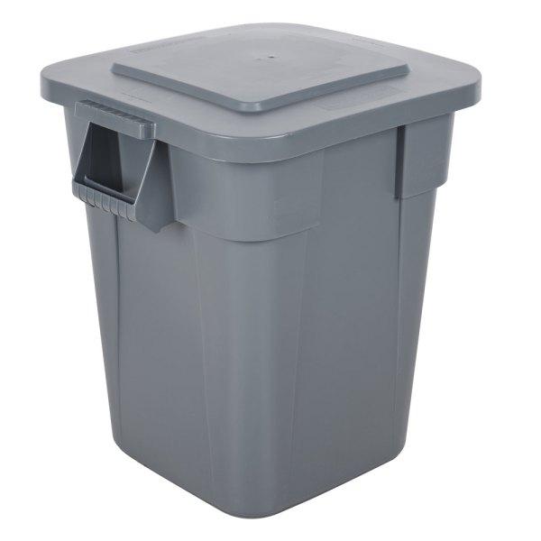 Rubbermaid Brute 40 Gallon Square Gray Trash And Lid