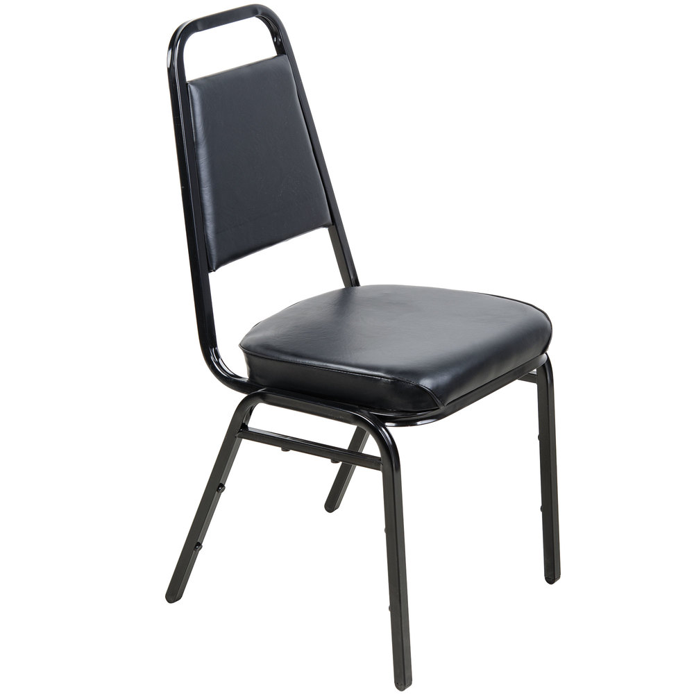Lancaster Table  Seating Black Stackable Chair with 2 Padded Seat
