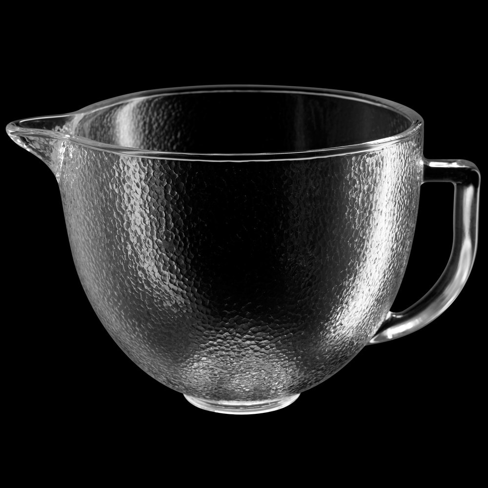 KitchenAid K5GBH 5 Qt Hammered Glass Mixing Bowl With
