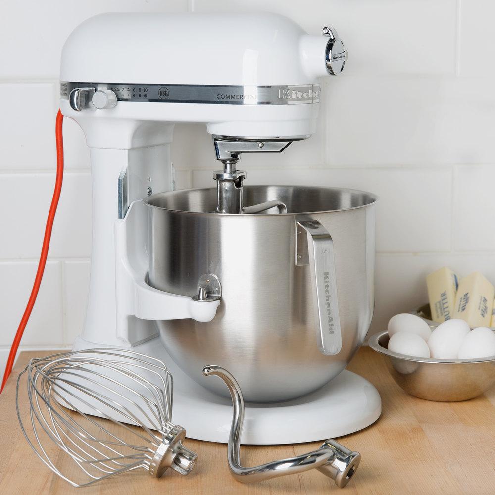 White KitchenAid 8 Qt Commercial Mixer KSM8990WH