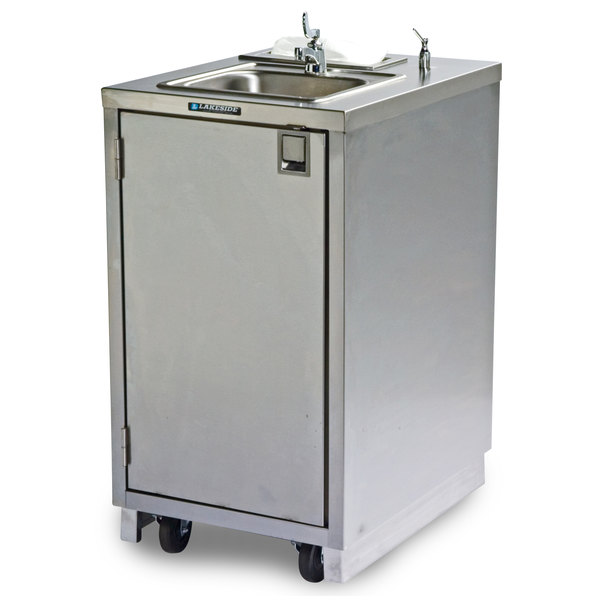 lakeside 9620 portable self contained stainless steel hand sink cart with hot water faucet and soap dispenser 120v