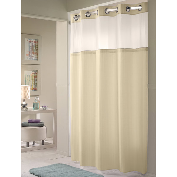 hookless hbh53dtb05crx beige double h shower curtain with chrome raised flex on rings it s a snap polyester liner with magnets and poly voile