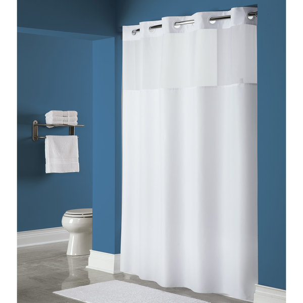 hookless hbh40mys0174 white mystery shower curtain with matching flat flex on rings weighted corner magnets and poly voile translucent window 71