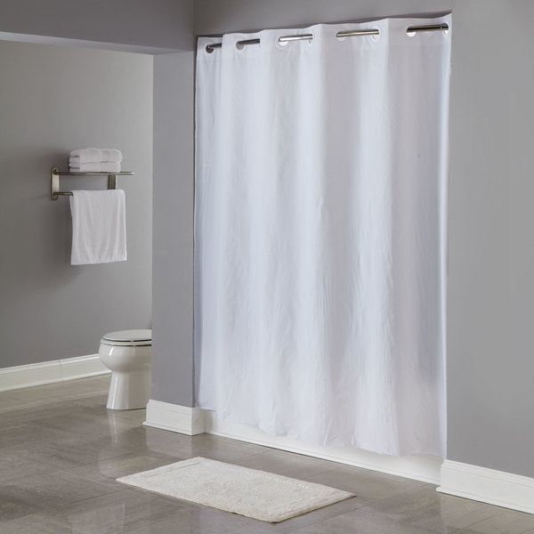 hookless hbh04pdt01l white 8 gauge pin dot shower curtain with matching flat flex on rings and weighted corner magnets 71 x 77